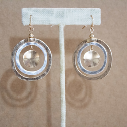 Cut Out Two Tone Circle Earrings
