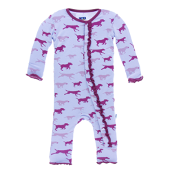 Kickee Pants Lilac Running Labs Muffin Ruffle Coverall