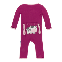Kickee Pants Berry Cow Applique Coverall
