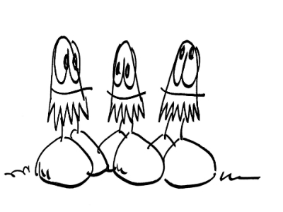 3 Egghead Cartoon Drawings by Dr. Parris, Orthodontist