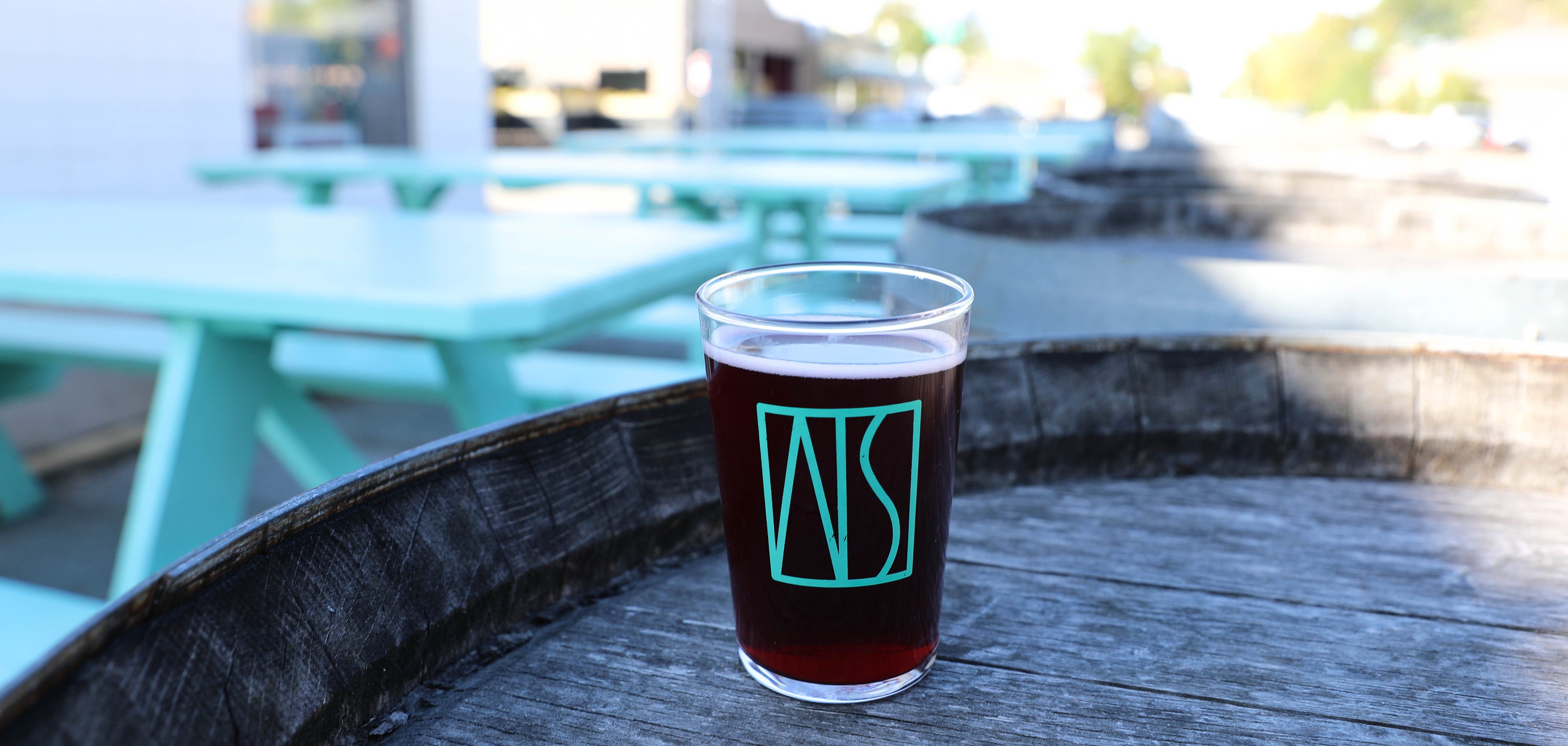 A beer outside near the patio of American Solera SoBo in Tulsa, Oklahoma.