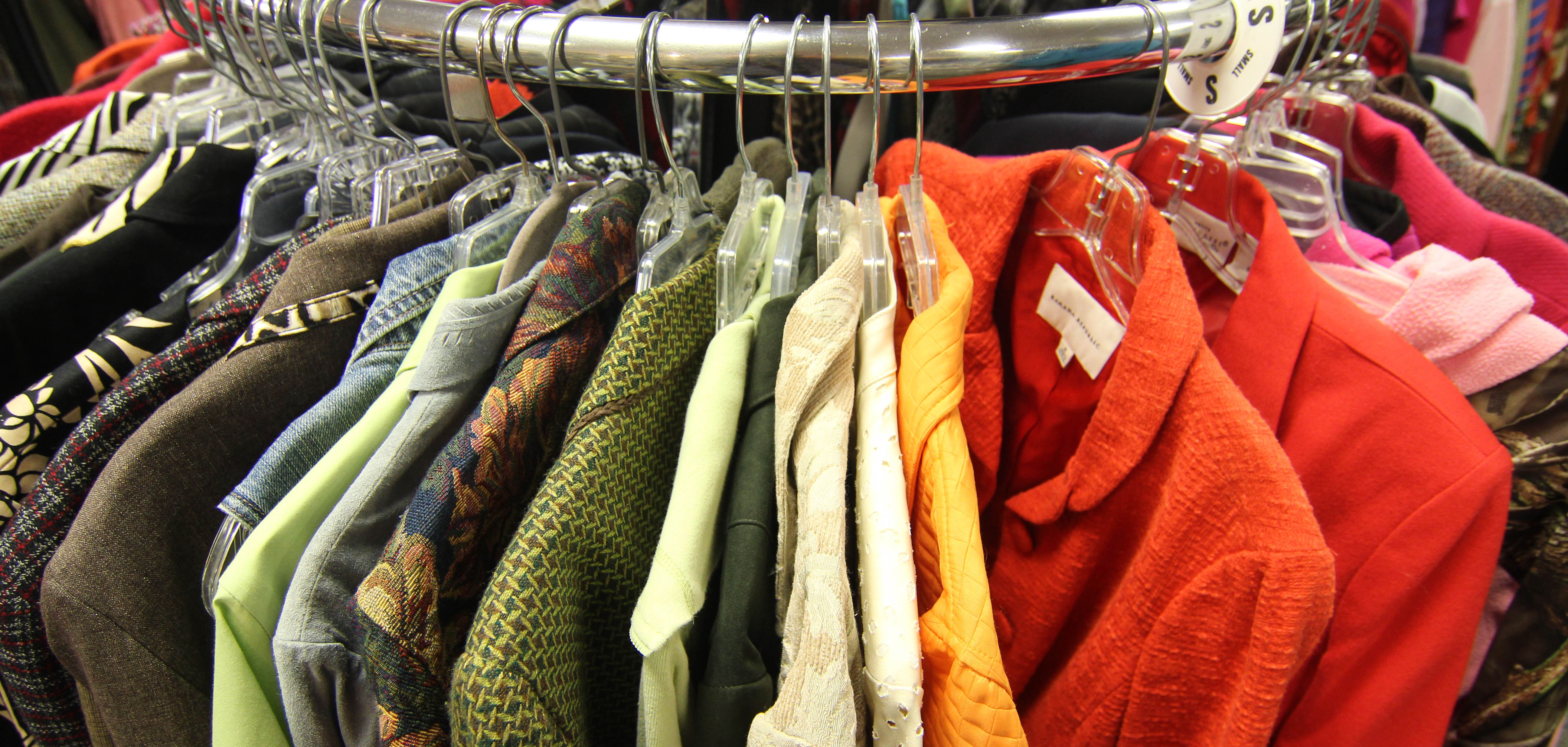 A rack of color-coded jackets at Bargains in Tulsa, Oklahoma.