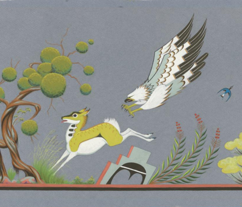Painting of a deer being chased by a bird at Gilcrease Museum of American Art.