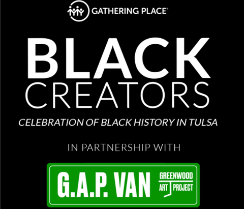 Black Creators graphic for event at the Gathering Place, Tulsa, Oklahoma.