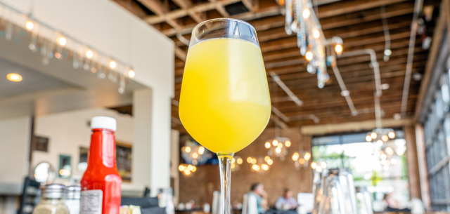 A mimosa at Bramble Breakfast & Bar in Tulsa's Pearl District.