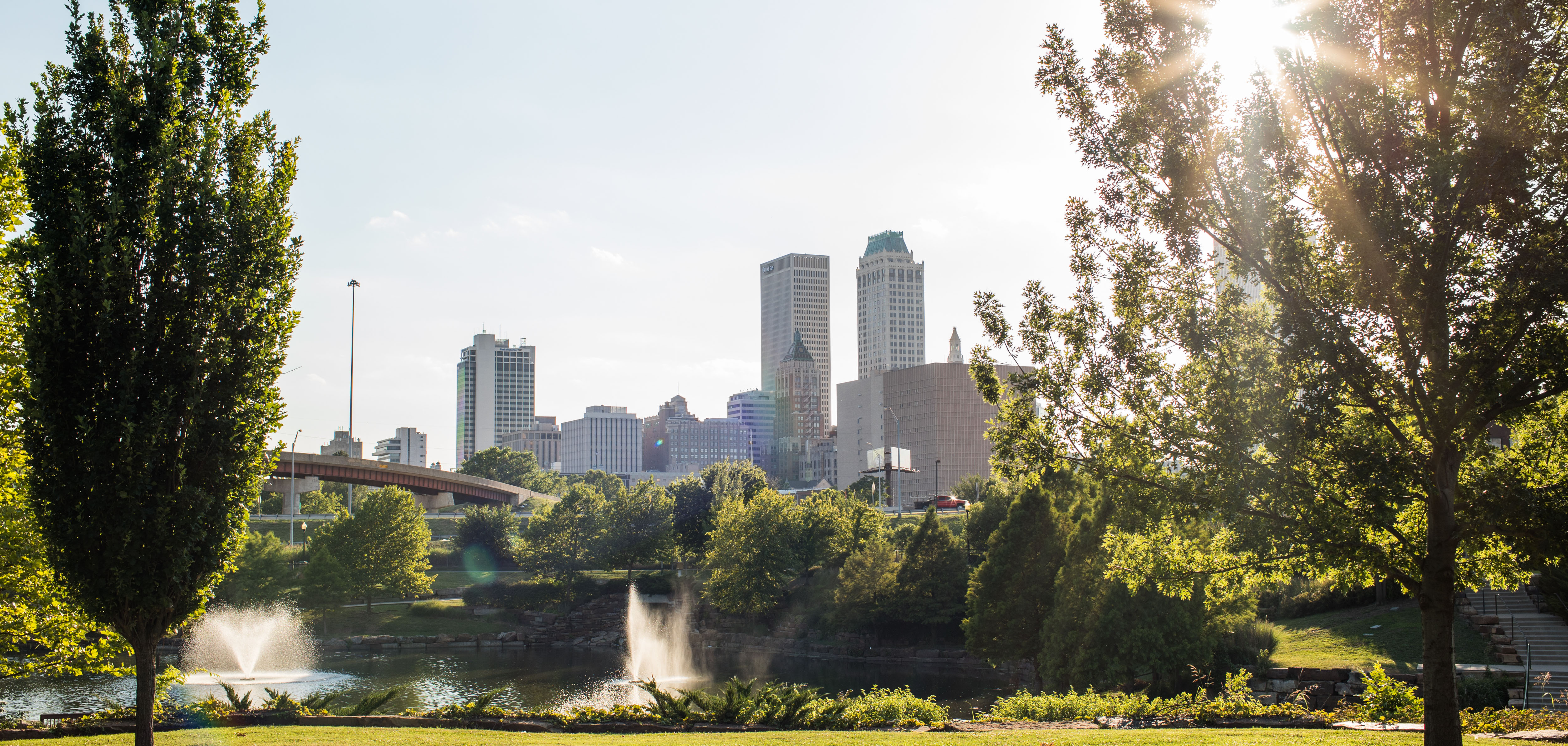 The downtown skyline seen from Tulsa Pearl District's Centennial Park.