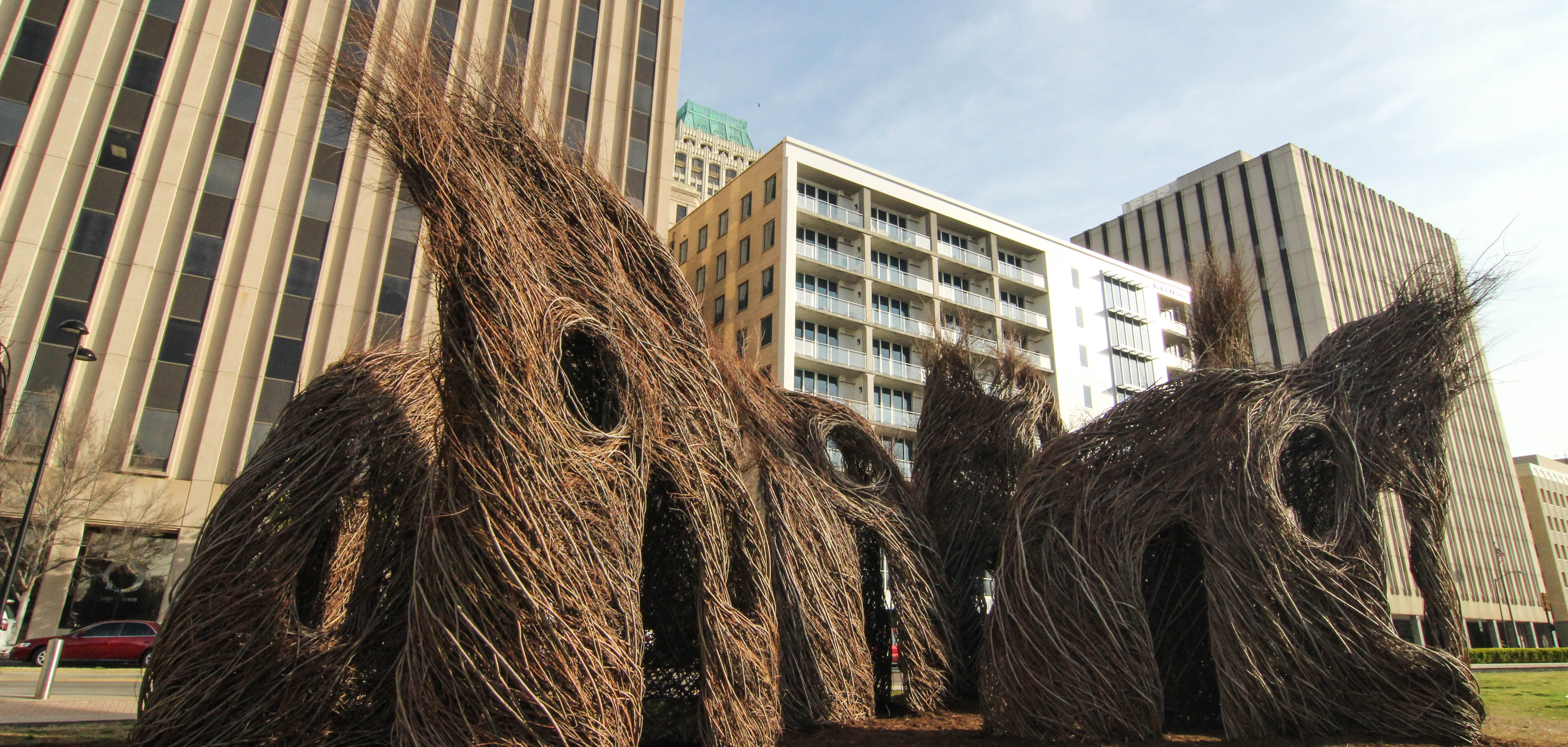 Patrick Doughtery's Prairie Schooner installation at Champman Green in Tulsa's Deco District.
