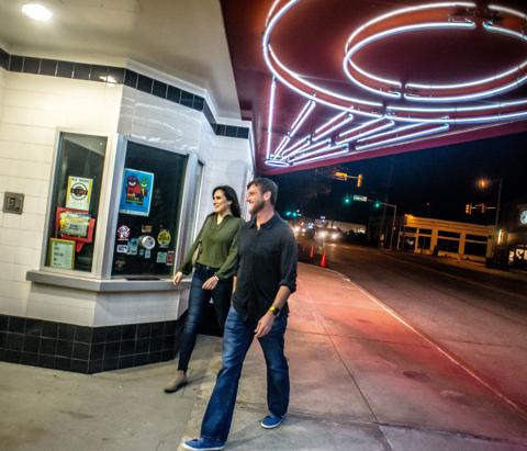 People enter Circle Cinema located in Kendall Whittier neighborhood in Tulsa, Oklahoma.