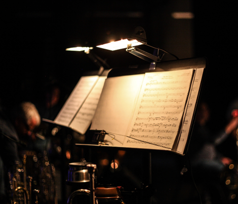 Music stand on stage for an orchestra. Tulsa, Oklahoma.