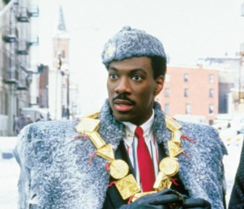 Eddie Murphy is seen in a still from the film Coming to America ahead of a screening at the Admiral Twin Drive-In in Tulsa, Oklahoma.