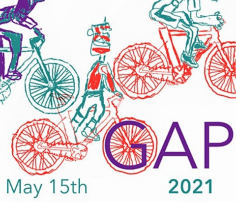 A graphic for the event Cycling the GAP is shown. Riders will meet up at Guthrie Green to ride through north Tulsa.