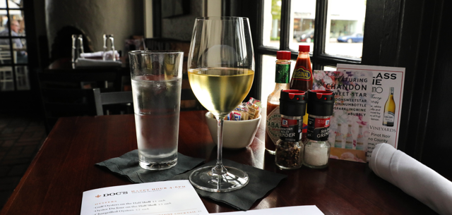 A glass of white wine at Doc's Wine and Food on Tulsa's Brookside.