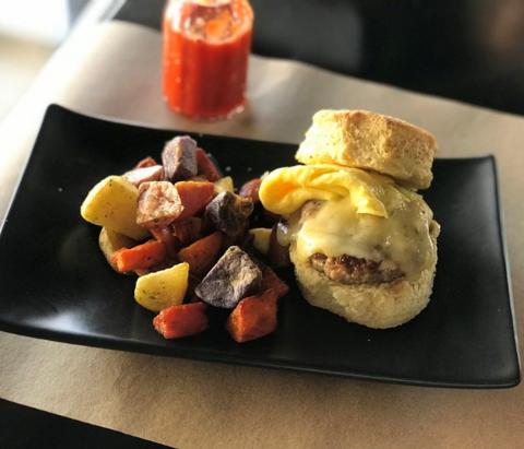 Photo of breakfast, brunch food on a table. Duet Restaurant, Tulsa, Oklahoma.