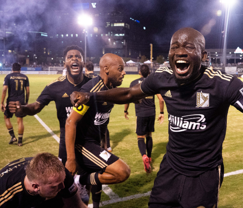 FC Tulsa celebrates a goal scored at ONEOK Field during a match in Tulsa, Oklahoma.