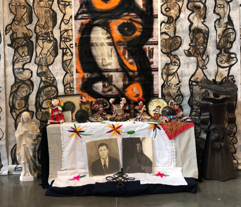"""The Trayectorias by Fred Villanueva is on display now at ahha Tulsa. Drawing on Mexican traditions of """"Altares"""" (Altars) and folkloric dance, Villanueva's series of installations bring together a cohesive vision of a seemingly disjointed world and suggest a hidden, surrealist world beyond what is immediately visible."""