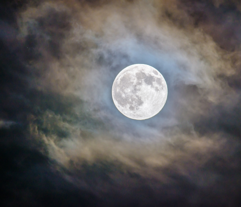 A full moon is seen over the Ray Harral Nature Center located in Broken Arrow, Oklahoma.