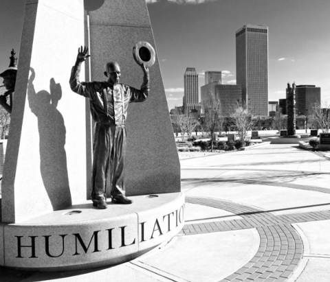 Statue of a Race Massacre survivor in John Hope Franklin Reconciliation Park, Greenwood, Tulsa, Oklahoma.