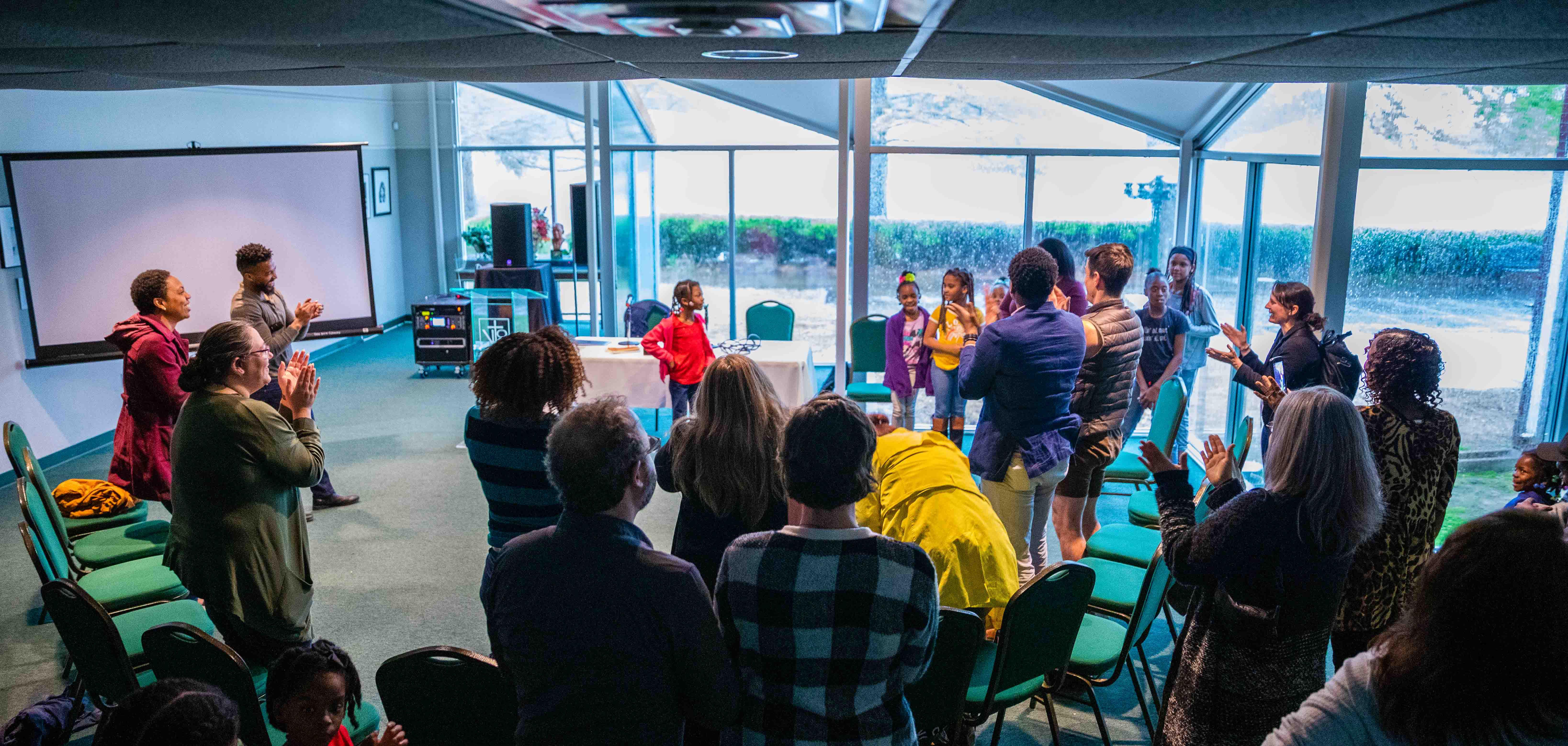A girl gives a presentation at Greenwood Cultural Center in Tulsa, Oklahoma.
