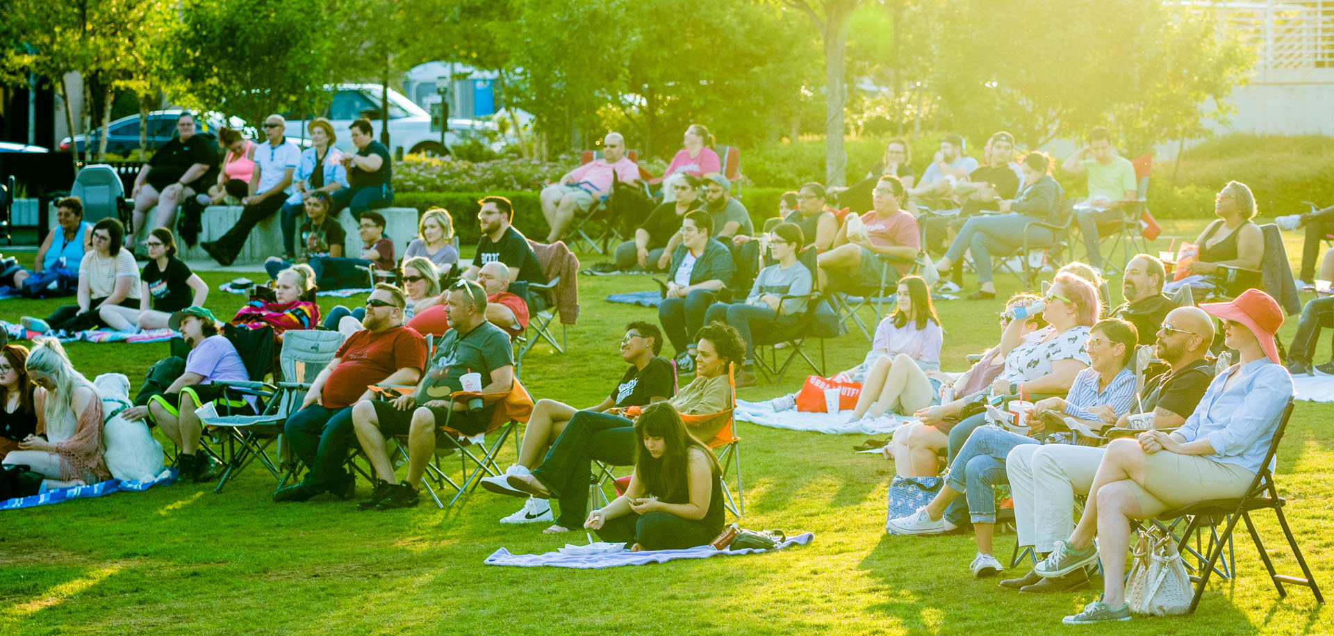 People look onto a concert at Guthrie Green in downtown Tulsa, Oklahoma.