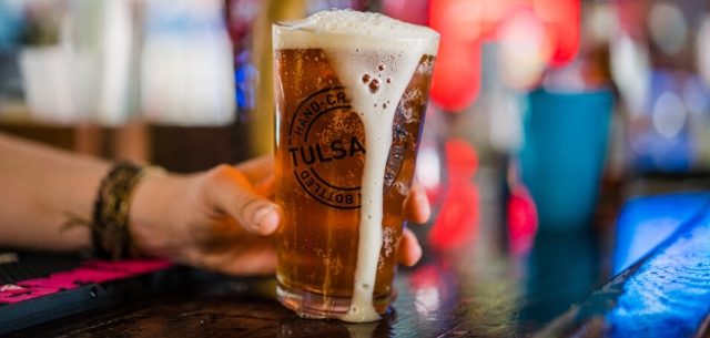 A beer is shown during happy hour in Tulsa, Oklahoma.
