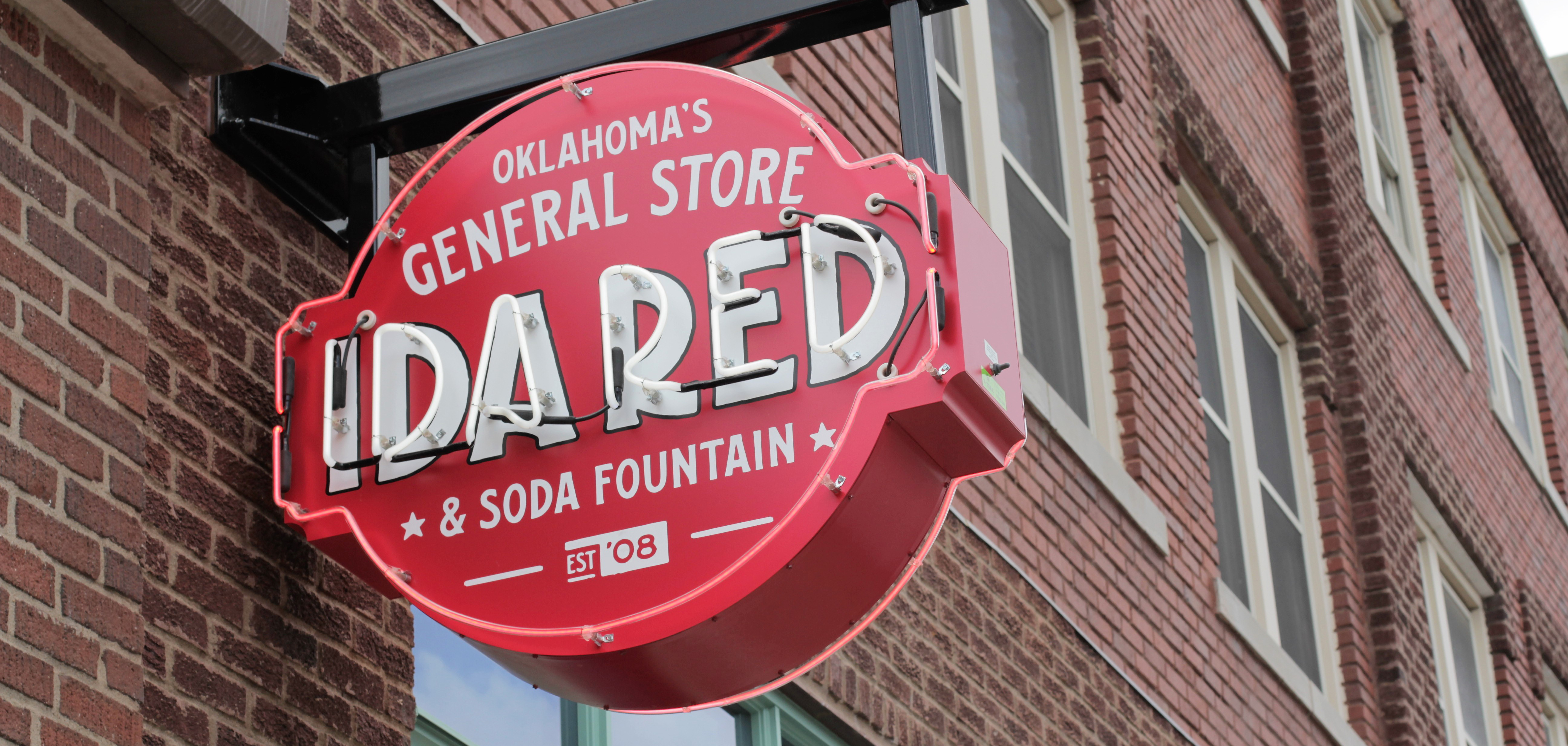 The sign outside of Ida Red General Store in Tulsa's Arts District.