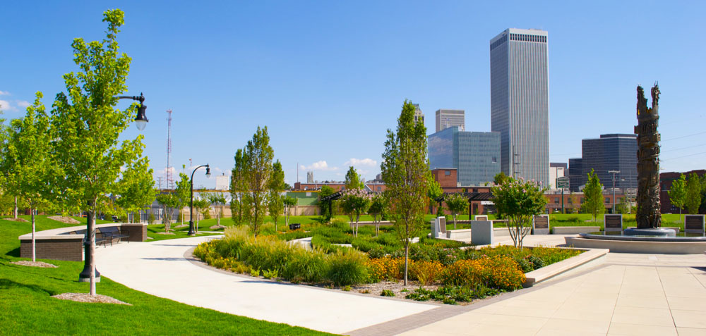 A view of downtown Tulsa, Oklahoma from John Hope Franklin Reconciliation Park.