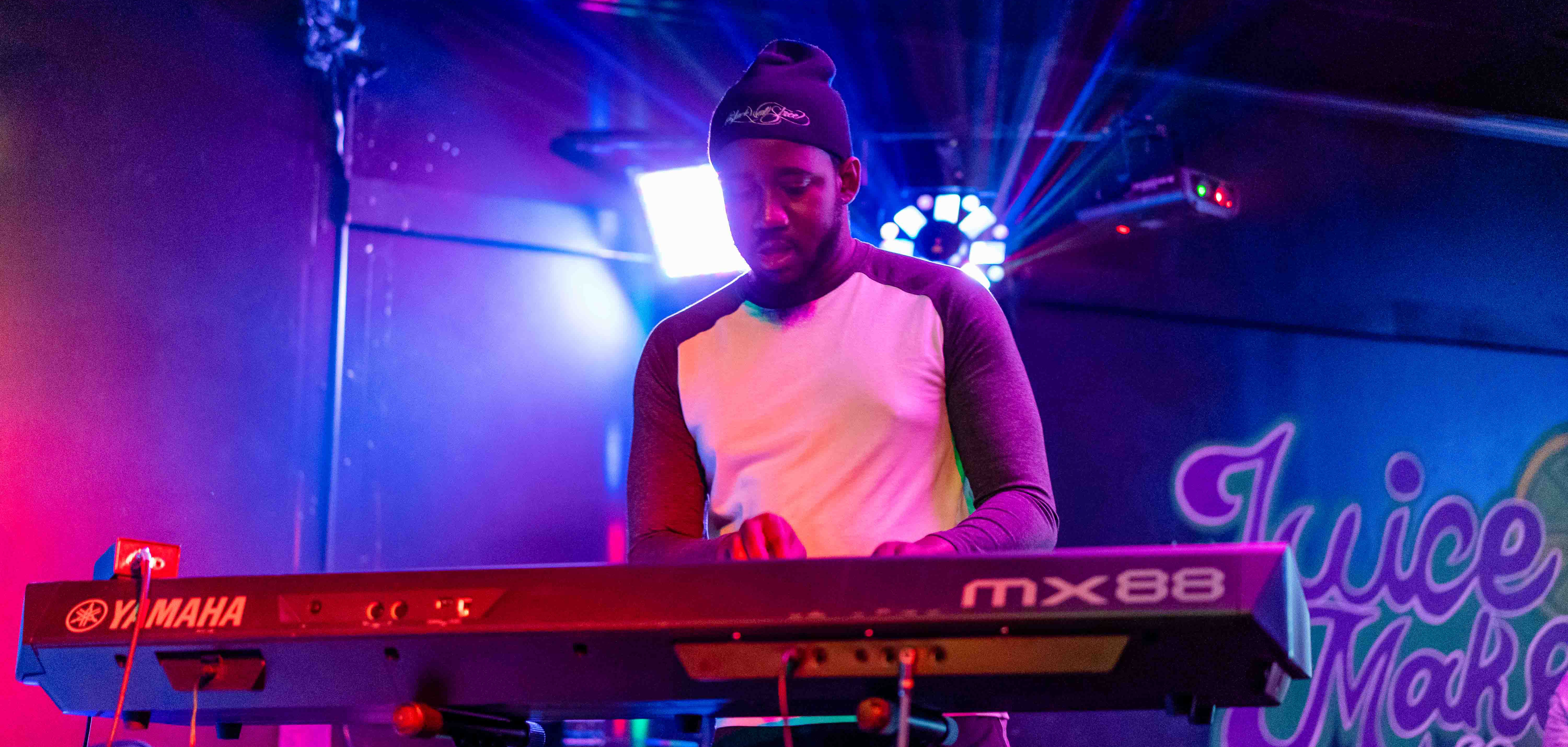 The keyboardist from Stanley Fonka and the New Chocolate Factory plays at Juicemaker Lounge in East Tulsa.