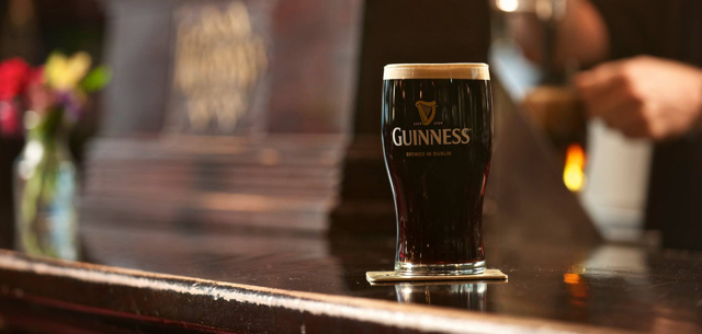 A beer sits on the counter at Kilkenny's Irish Pub in Tulsa, Oklahoma in observation of the happy hour special tradition Pint Night.