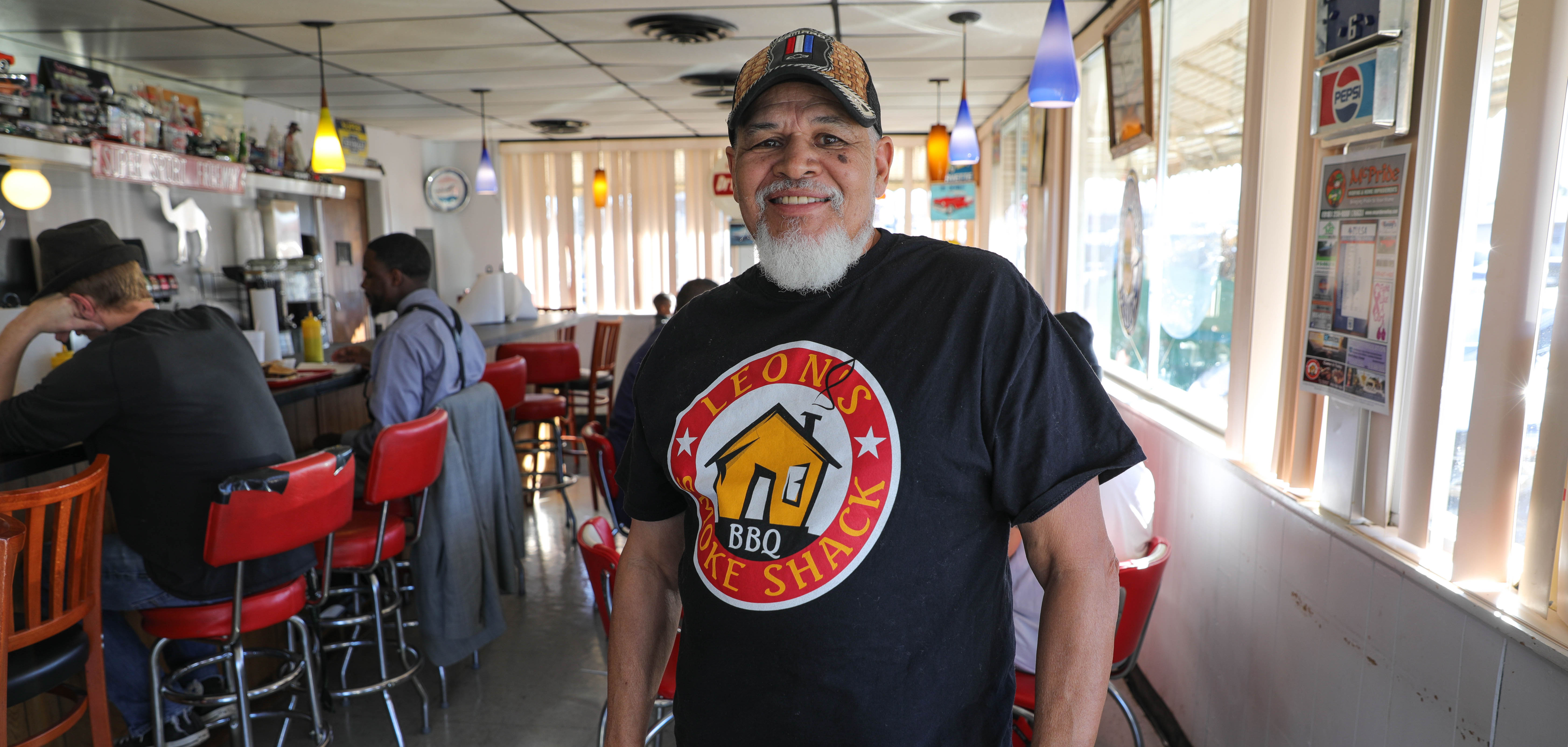 Owner Leon in his restaurant Leon's Smoke Shack in East Tulsa.