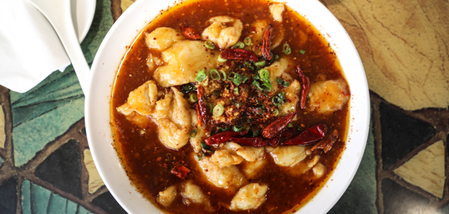 A bowl of spicy fish soup at Mandarin Taste Chinese Restaurant in South Tulsa.