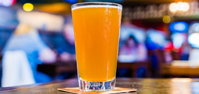 A pint of beer sits on a bar in Tulsa, Oklahoma.