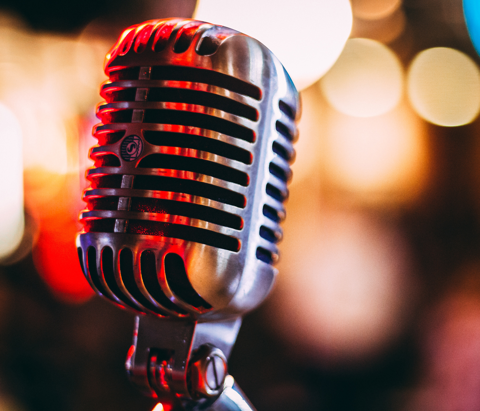 A microphone is seen ahead of SoundsTooth's Third Thursday Comedy event at Whittier Bar in Kendall-Whittier neighborhood in Tulsa, Oklahoma.