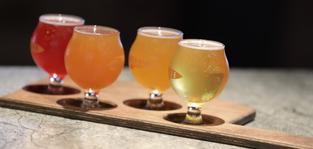 A flight of beer at NEFF Brewing in Tulsa's East Village District.