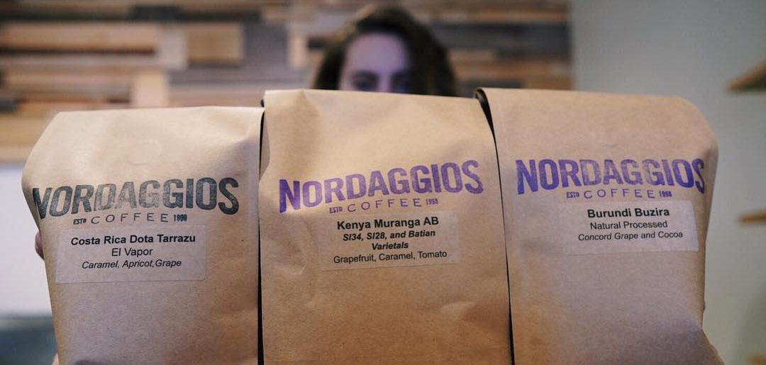 Three bags of coffee in the South Tulsa coffee shop, Nordaggio's