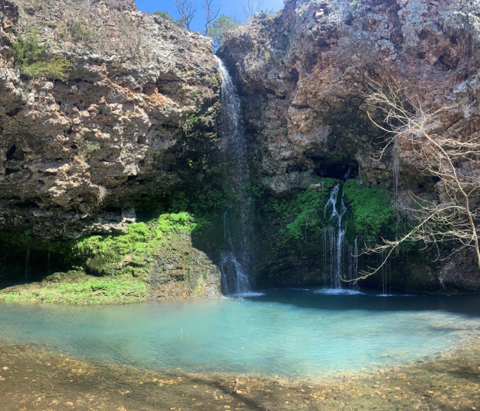 The waterfalls at Dripping Springs are seen at Natural Falls State Park located in Colcord, Oklahoma. The park is about one hour's drive from Tulsa, which makes it the ideal daytrip destination.