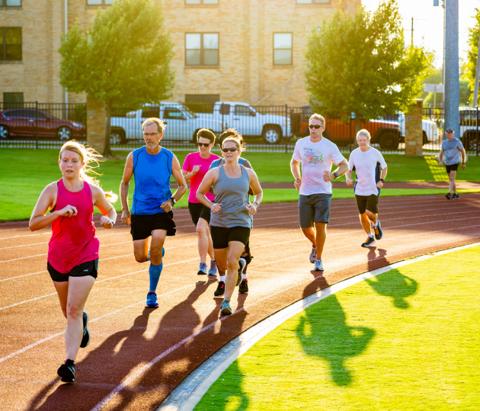 People running on track in Tulsa, Oklahoma.