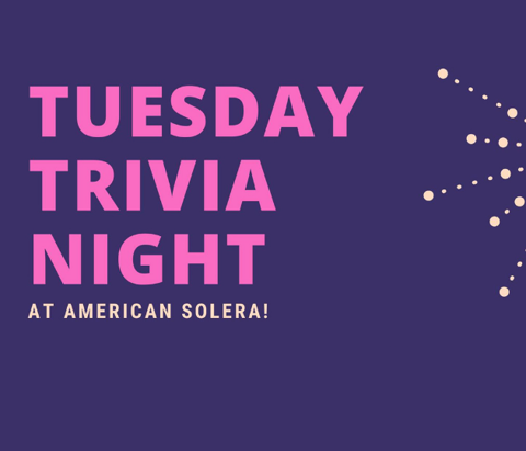 A flyer for Tuesday Trivia Night at American Solera brewery in Tulsa, Oklahoma is shown.