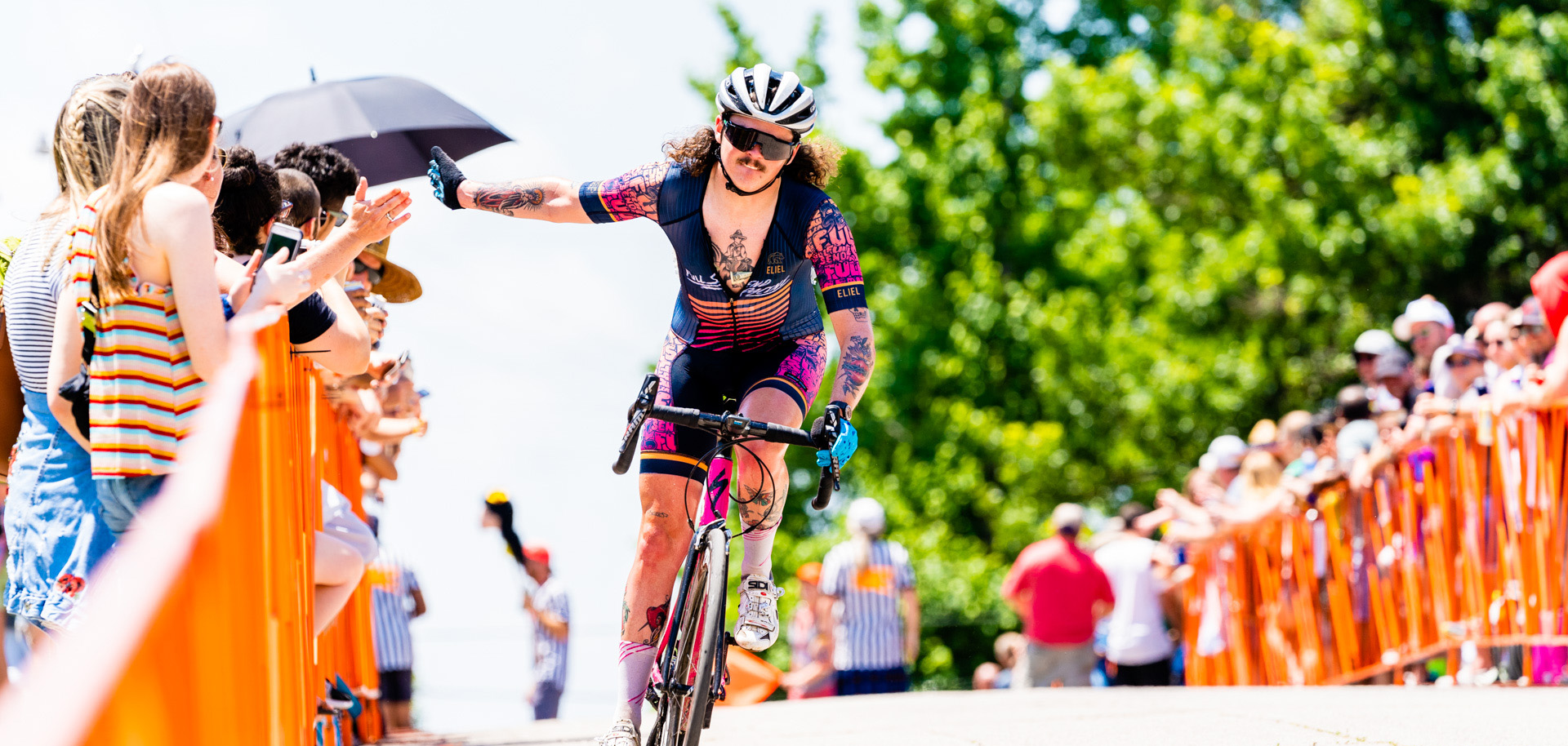 A cyclist riding at Cry Baby Hill during Tulsa's annual Tulsa Tough.
