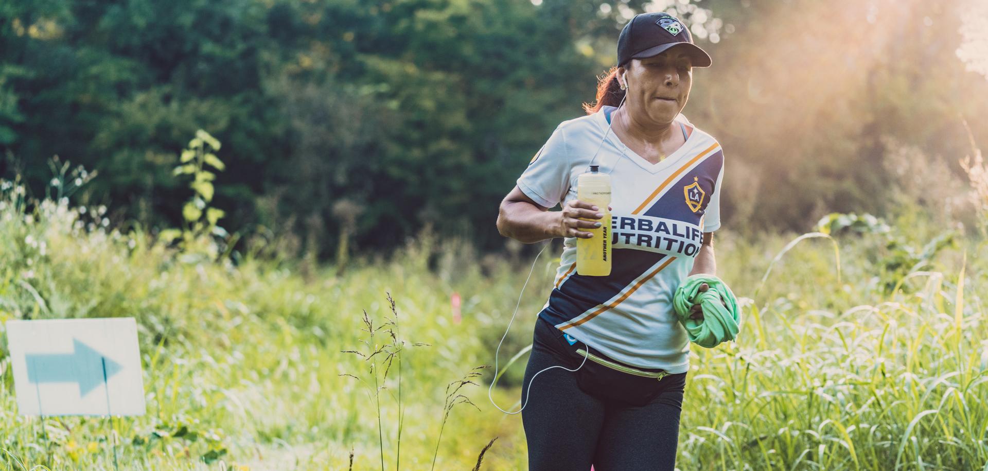 A woman running on Turkey Mountain in Tulsa, Oklahoma.