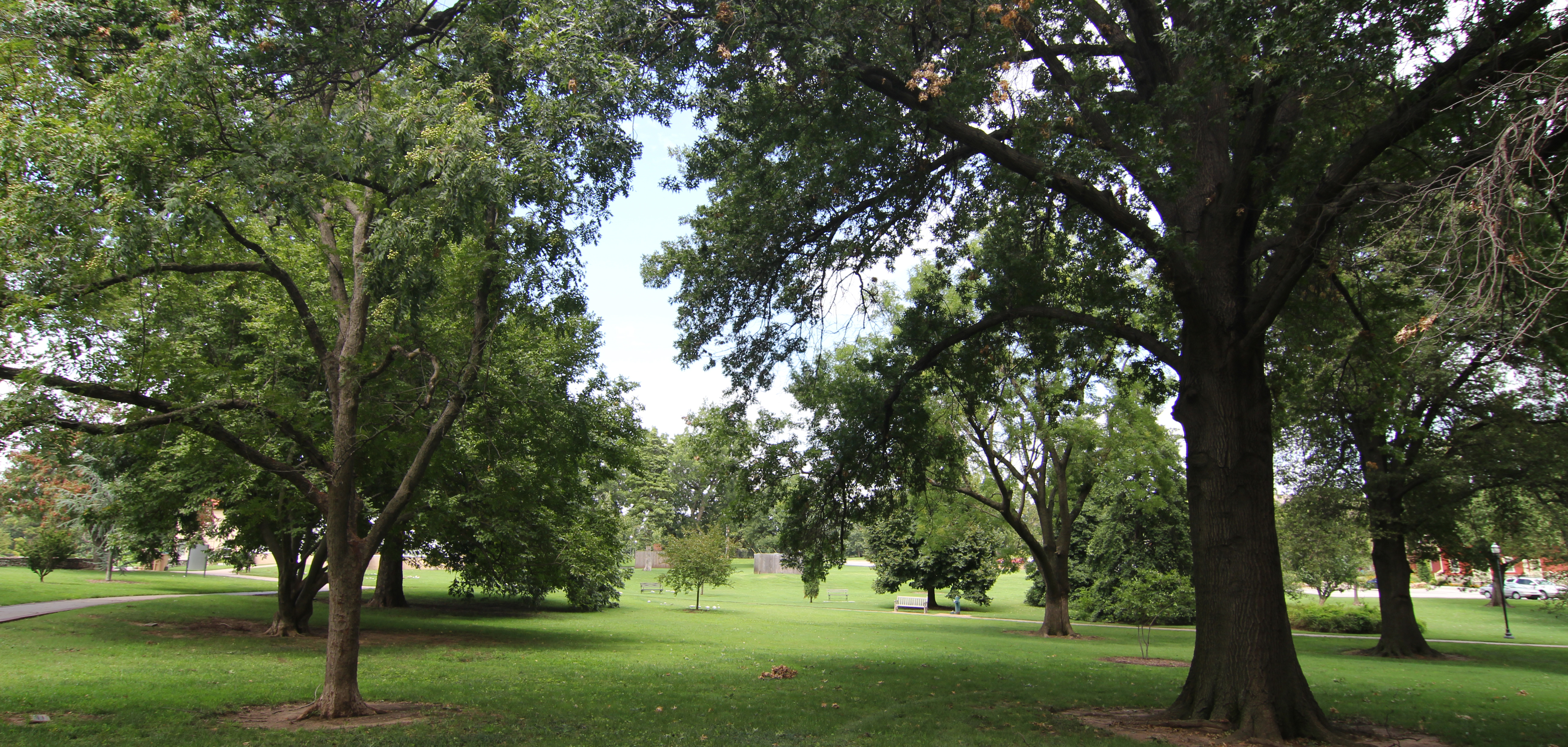Large trees provide ample shade at Woodward Park.
