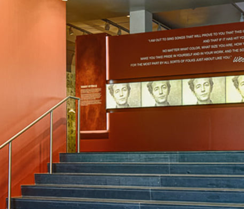 An interior view of Woody Guthrie Center in the Tulsa Arts District.