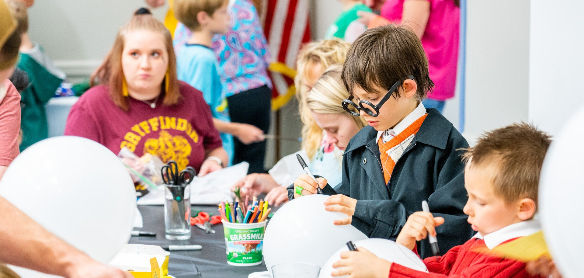 Kids participate in a Harry Potter event at Zarrow Regional Library in Tulsa, Oklahoma.