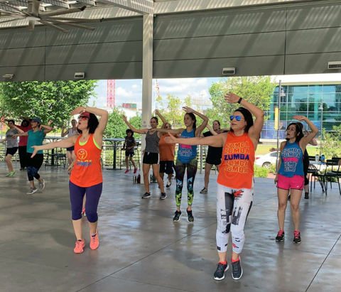 Sunday Zumba with Ariane at Guthrie Green in downtown Tulsa, Oklahoma.