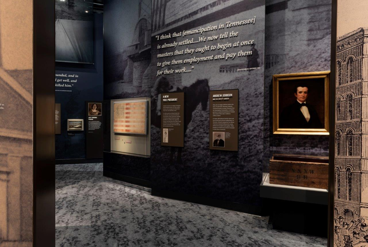 A portion of the exhibit details the political rise of Andrew Johnson to vice-president under Abraham Lincoln.