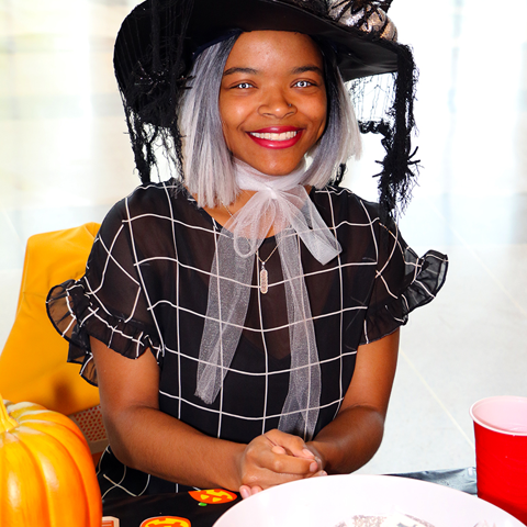 Daria Smith poses in her witch Costume.