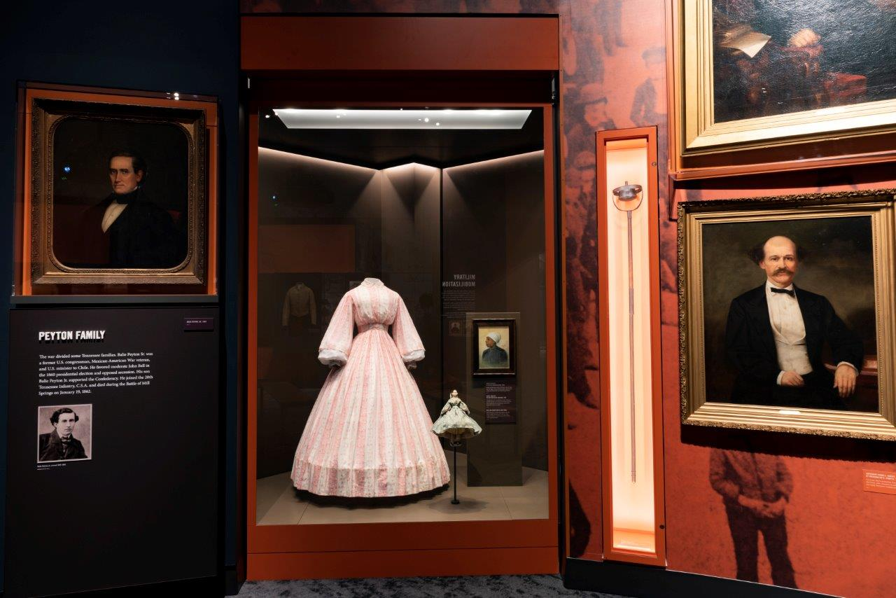 The dress displayed here was made Keziah Whiteside Burcham in 1856.