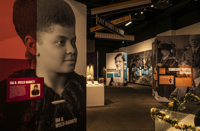 "Section of the ""Ratified! Tennessee Women and the Right to Vote"" exhibition featuring Ida B. Wells-Barnett."