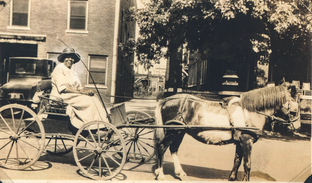 Mary Ellen Vaughn, Murfreesboro newspaper owner and civil rights advocate, in a horse and buggy, 1926.