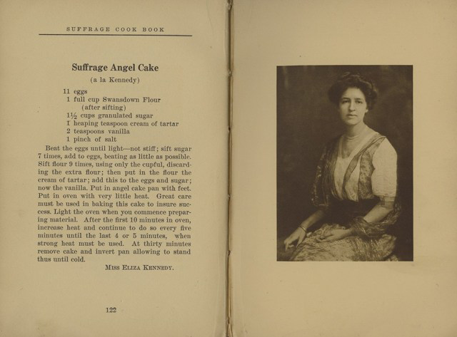 Recipe and Image of Eliza Kennedy in Suffrage Cookbook, 1915.