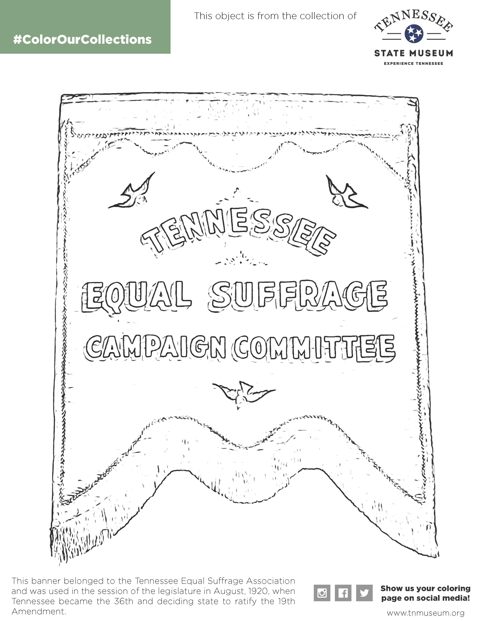 Tennessee Equal Suffrage Campaign Committee Banner Coloring Book Page